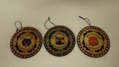 Bethany Lowe Halloween Set of 3 Different Mummer's Medallion Ornaments SN5809