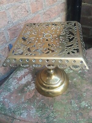 Antique victorian ornate detailed kettle stand brass trivet planter  pot stand