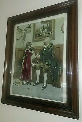 Antique Victorian mahogany wood frame  picture first aid print dog girl & man