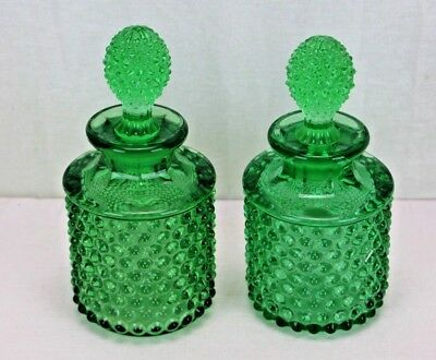 Antique Pair of Green Hobnail Glass Perfume Bottles Matching Barber Bottles