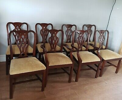 Set of Eight Solid Mahogany Chippendale Dining Chairs by Baker
