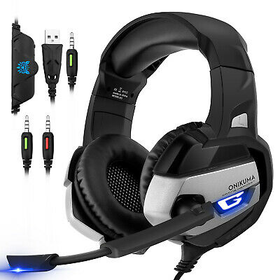 Hunterspider Mic Gaming Headset Bass Stereo Headphones fr PC PS4 Xbox One Switch