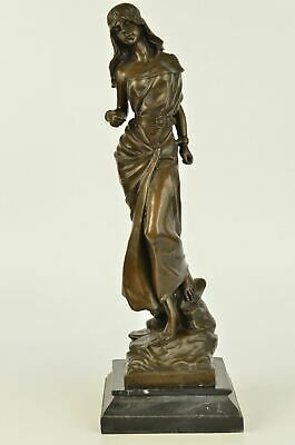 "Bronze Sculpture of Hippie Girl in Headband amp; Flowing Dress 17"" x 6"""