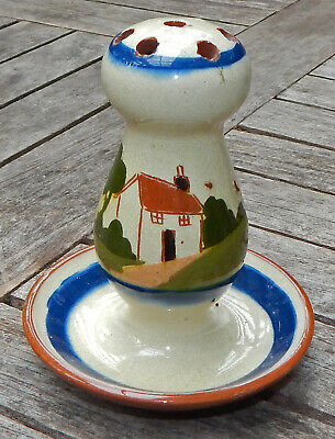 """TORQUAY Ware """"COTTAGE"""" Pottery HAT PIN Holder Stand MOTTO WARE 1940's Vintage"""