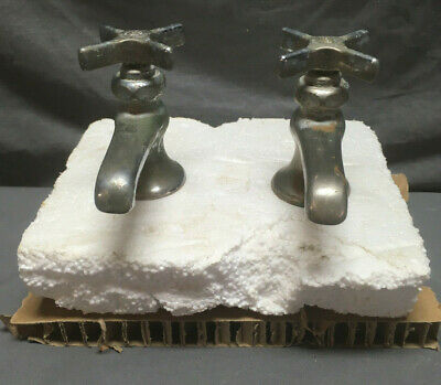 Antique Pair Nickel Brass Separate Hot Cold Sink Faucets Vintage 81-19L
