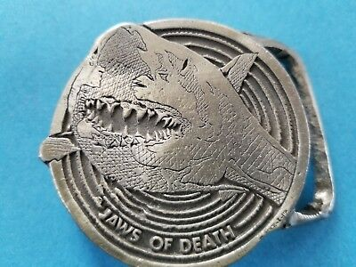 """Vintage 1975 Hand Crafted """"Jaws of Death"""" Belt Buckle Buck-L-Up Pewter Shark"""