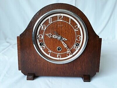 Vintage Art Deco Enfield Wooden Case Westminster Chime Mantel Clock with Key