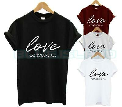 Love Conquers All T Shirt Wifey Hubby Marriage Girlfriend Boyfriend Couple New