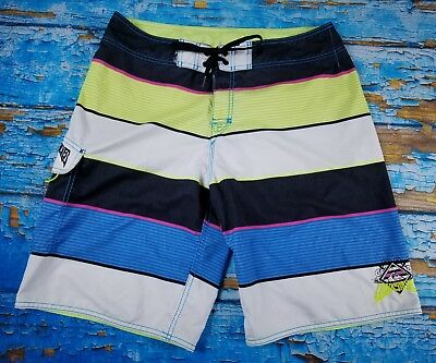 9699c83d7d Quiksilver Mens Multicolor Block Striped USA Swimming Trunks Surf  Boardshorts 34