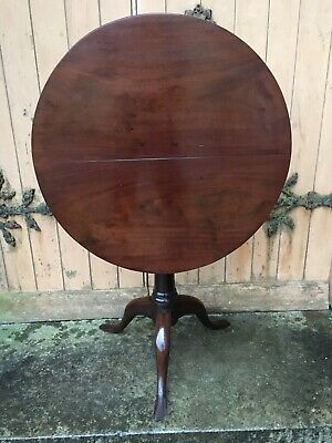 Antique Mahogany 18th Century Tilt Top Tripod Occasional Table Wine Side Lamp