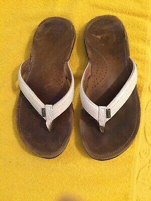 Womens Reef Miss J-Bay 3 Black Gold Leather Toe Post Sandals Size