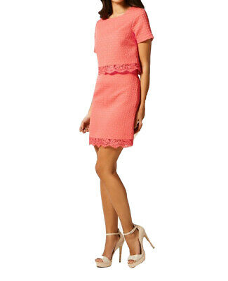 Lipsy Skirt Top Size 12 Coral Pink Lace A Line Summer Party 2 Piece Set BNWT