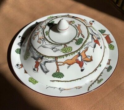 "Crown Staffordshire Coalport HUNTING SCENE Toast Cover + 8"" Plate  Horses Riding"