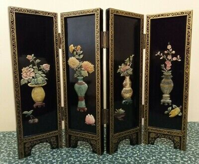 """Vintage Small Chinese Lacquered and Carved Stone Table Divider/Screen 18""""X14"""""""