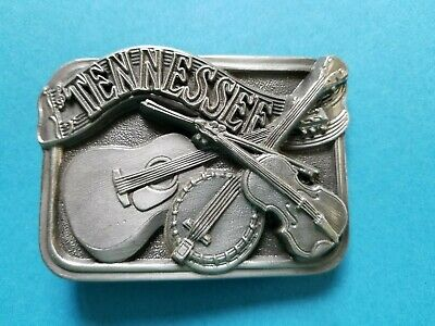 Vintage 1984 Tennessee Country Music Belt Buckle Guitar Fiddle Banjo C-150