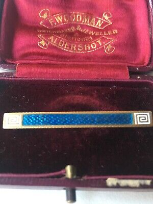Art Deco blue guilloche enamel brooch in 15ct gold Greek Key Design