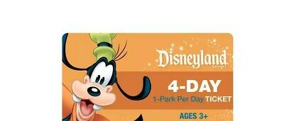 (1) Disneyland California Adventure 4 Day 1 Park Per Day Ticket w Magic Morning
