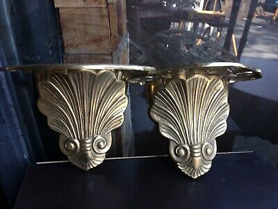 Vintage Antique Large Ornate Brass Wall Sconce Pair Shelf Flower Sz 9x5x8""