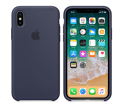 MIDNIGHT BLUE Silicone Case For Apple iPhone X 10 GENUINE OEM official cover