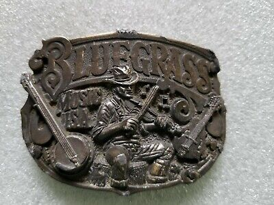 Vintage 1982 Bluegrass Music USA Belt Buckle #H913 Fiddle Player Great American
