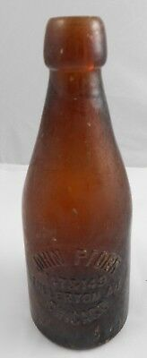 John Pforr Fullerton Ave Chicago Amber Blob top Beer Bottle Illinois IL Pre Pro
