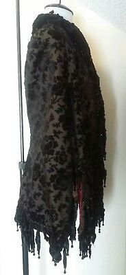 Antique Victorian Black Velvet Chenille Quilted Jet Cape Capelet Mantle Mourning