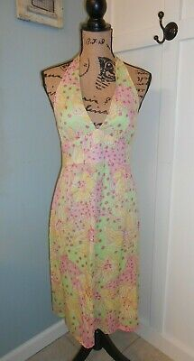 1d468553fc35 Lilly Pulitzer Sleeveless Halter Dress Pale Green Pink Yellow Floral V Neck  Sz 2