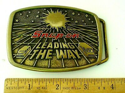 Vintage Snap-on Tools Leading the Way Belt Buckle Solid Brass