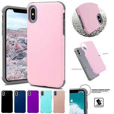 For iPhone 6s 7 8 Plus Case Heavy Duty Hybrid Rubber Bumper Protective TPU Cover