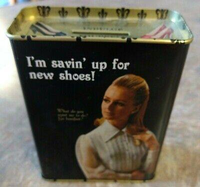 "Small Tin Bank - 'I'm Savin' Up For New Shoes!"" Unused, vintage"
