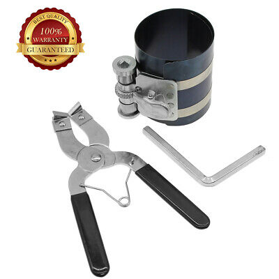 2set Durable Ratchet Style Piston Ring Compressor & Installer Pliers Engine Tool
