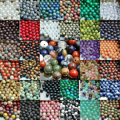 Natural Gemstone Round Spacer Beads 4mm 6mm 8mm10mm 12mm DIY Jewelry making #4
