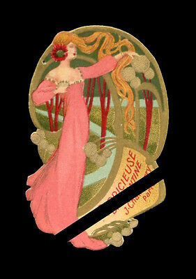 Antique French Perfume Label: Art Nouveau J Chamberry Brillantine La Capricieuse