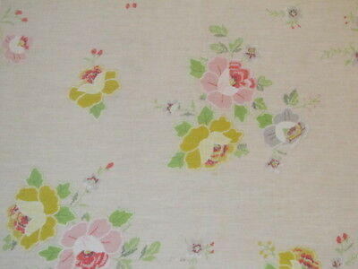 Easter Spring Tablecloth White w Pastel Floral Yellow Pink Blue Green  58 x 52