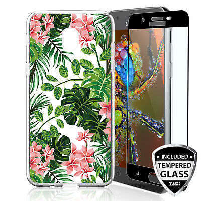 For Samsung Galaxy J7 Star/Crown/V 2018 Green Leaves TPU Case+Tempered Glass