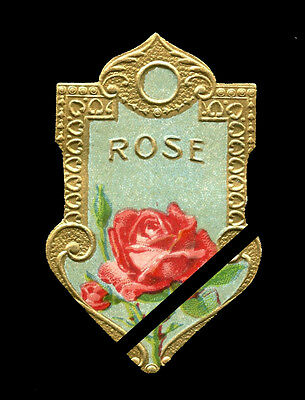 Vintage Perfume Soap Label: French Paris Antique ROSE original embossed est.1900