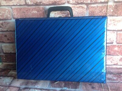 Vintage Cassette Tape Carry Case - Retro Blue Cassette Tape Storage Box