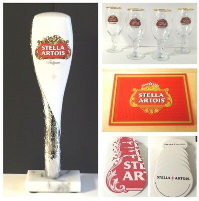 "Stella Artois Beer Tap Handle 12"" (4) 50 cl Glasses Bar Mat 25 Coasters New F/S"
