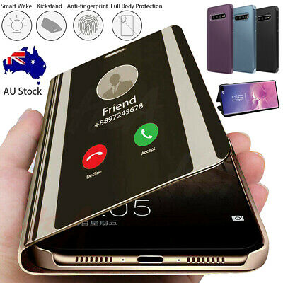 Samsung Galaxy S20+ UItra Note10 9 8 Smart Clear Mirror Leather Stand Case Cover