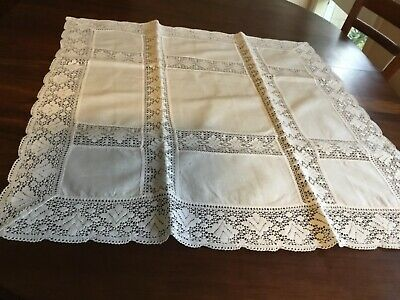 White Cotton Crochet  Tablecloth