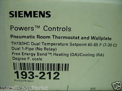 Siemens Pneumatic Room Thermostat 193-212 Th193Hc New