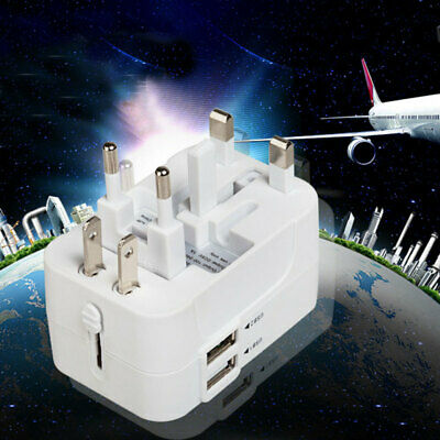 Universal Travel Adapter Multi Plug Charger With Dual USB 2 Port EU/US/UK Plug