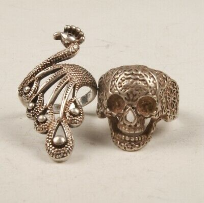 Chinese Tibetan Silver Hand Carving Peacock Skull Ring Gift Collection