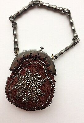Antique Georgian miniature chatelaine purse decorated with cut steel beads- Rare