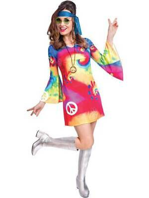 Adult Ladies Free Spirit Hippie Fancy Dress Costume Groovy 60s 70s Hippy Womens
