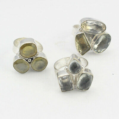 Mixed Items & Lots Emerald Topaz Citrine 5pcs Jewelry .925 Silver Plated Wholesale Rings S29471