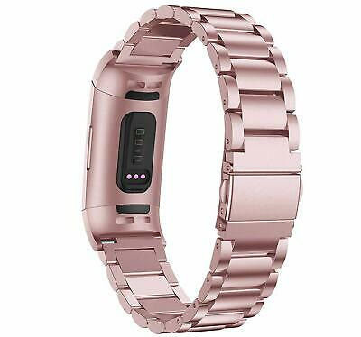 Compatible Fitbit Charge 3 Band Replacement Stainless Steel Metal Bracelet Strap