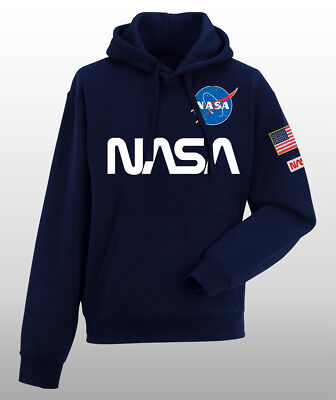 Felpa Cappuccio Unisex Toppa Patch Nasa S-L-Xl