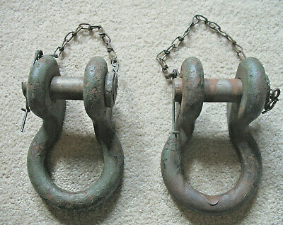 2 Rare, Vintage Offset D Shackles W/Chained Pins, Steampunk, Army/John Deere(?)