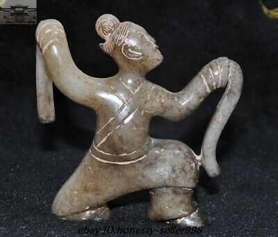 Antique Natural Hetian jade Carved Tang Dynasty Dancer People Statue Funerary